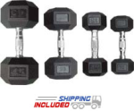 Troy Rubber Hex Dumbbells - 5-75 lb. Set